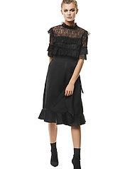 By Malina - Rachel blouse - kortärmade blusar - black - 4
