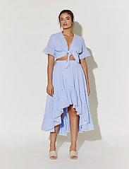 By Malina - Frances top - kortärmade blusar - blue checker - 5