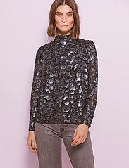 By Malina - Zoey blouse - långärmade blusar - black sparkle - 0