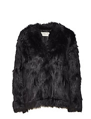 Addison faux fur coat - BLACK