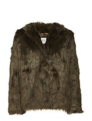 Addison faux fur coat - KHAKI