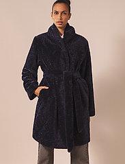 By Malina - Adrielle faux fur coat - faux fur - indigo blue - 0