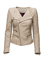 Jade quilted leather jacket - SAND