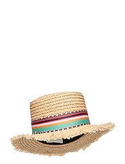 Desert straw boater hat - INCA CORAL ROSE