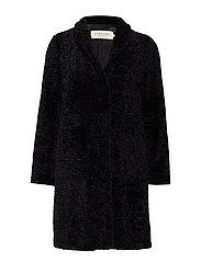 Pam faux fur coat - BLACK