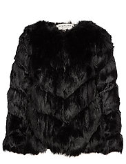 Oria faux fur jacket - BLACK
