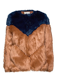 Rocca faux fur jacket - SPICED HONEY-INC BLUE