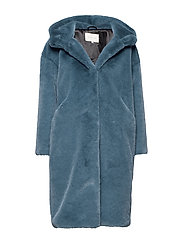 Carli faux fur coat - STEEL BLUE