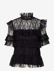 By Malina - Rachel blouse - kortärmade blusar - black - 1