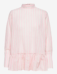 By Malina - Aldina shirt - långärmade blusar - pale pink stripe - 1