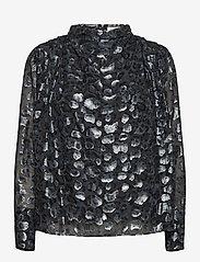 By Malina - Zoey blouse - långärmade blusar - black sparkle - 1