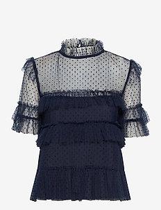 Rachel dotted blouse - kortärmade blusar - deep blue