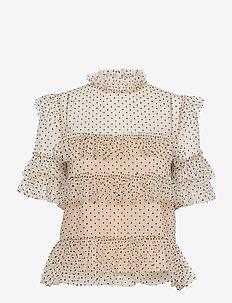 Rachel dotted blouse - kortärmade blusar - soft beige