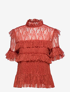 Rachel blouse - kortärmade blusar - burnt henna