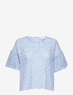 Callie blouse - kortärmade blusar - sky blue