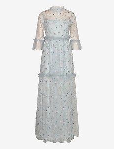Alva dress - maxi jurken - pastel blue flower