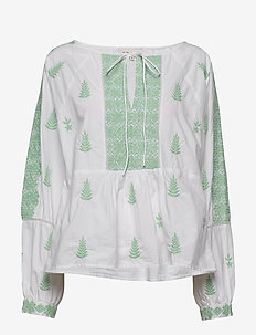Rose blouse - långärmade blusar - green mist