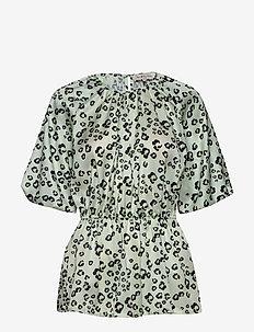 Mina blouse - kortærmede bluser - leo aqua