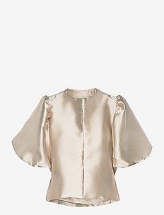 Cleo blouse - kortärmade blusar - soft beige