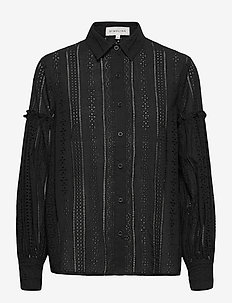 Juno blouse - långärmade skjortor - black