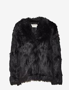 Addison faux fur coat - BLACK