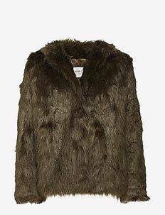 Addison faux fur coat - KHAKI