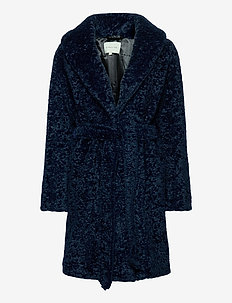 Adrielle faux fur coat - faux fur - indigo blue