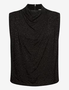 Nuria top - ermeløse bluser - black