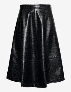 Romy croco skirt - vidutinio ilgio sijonai - black