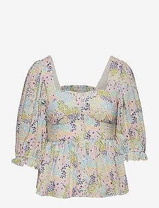 Mariela top - långärmade blusar - summer blooms