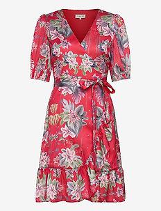 Lydia dress - omslagskjoler - electric jungle pink coral
