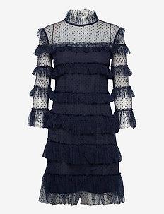 Carmine dotted dress - midi kjoler - deep blue