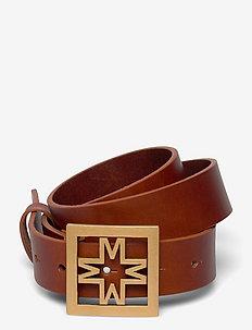 Iconic thin leather belt - skärp - cognac