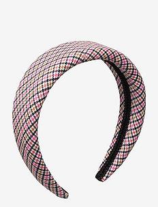 Sally headband - hårband - pink checker