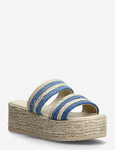 Plateau raffia sandals - espadriller med klack - ocean blue