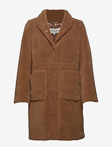 Pam teddy faux fur coat - SPICED HONEY