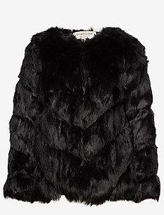 Oria faux fur jacket - BLACK