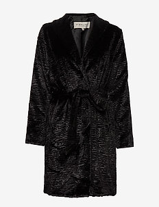 Fabiana faux fur coat - BLACK
