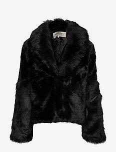 Alma faux fur jacket - BLACK