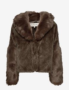 Alma faux fur jacket - HERB GREEN