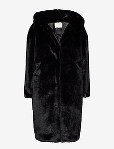 Carli faux fur coat - BLACK