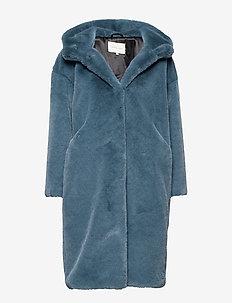 Carli faux fur coat - STEEL BLUE