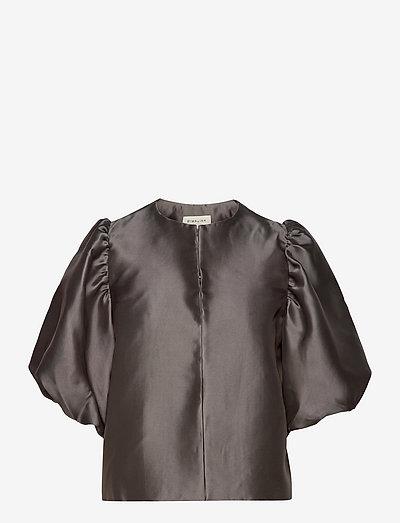 Cleo blouse - kortärmade blusar - charcoal