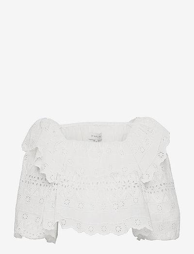 Mila top - långärmade blusar - white