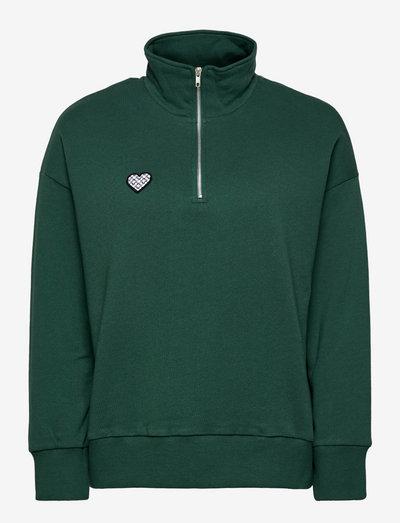 Lovers half zip sweatshirt - sweatshirts & hoodies - pine green