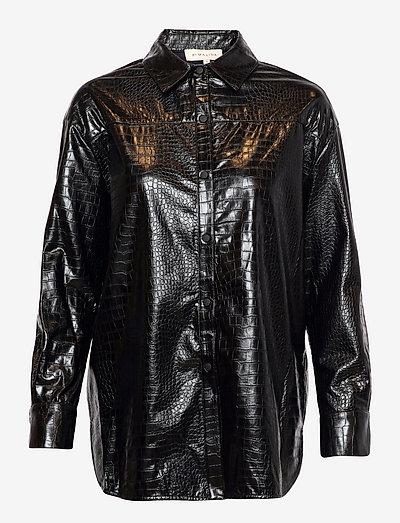 Windy croco shirt - långärmade skjortor - black