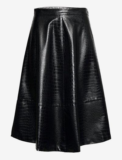 Romy croco skirt - midi kjolar - black