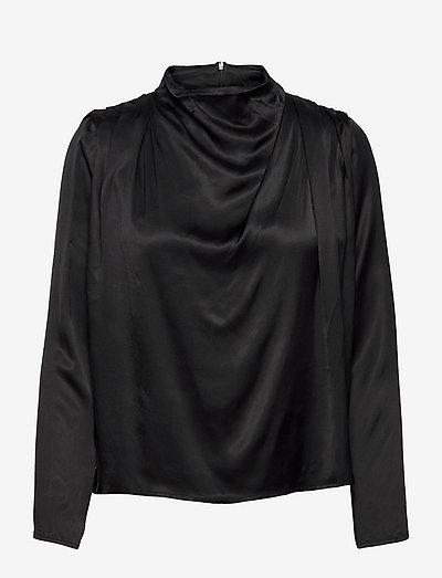 Flor blouse - långärmade blusar - black