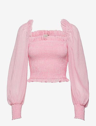 Luisa top - långärmade blusar - candy pink checker
