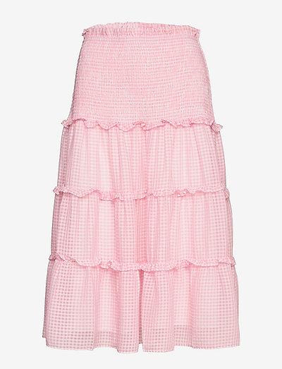 Jazmin skirt - midi kjolar - candy pink checker